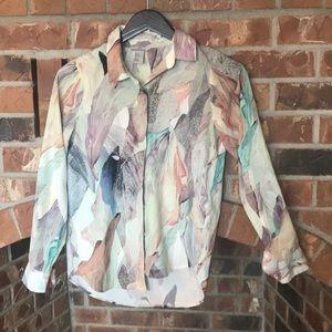 H&M water color button front blouse Sz 2